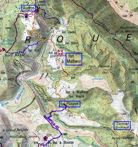 Bord Martin   Ilet à Malheur Aurère par sentier Scout : Runrando